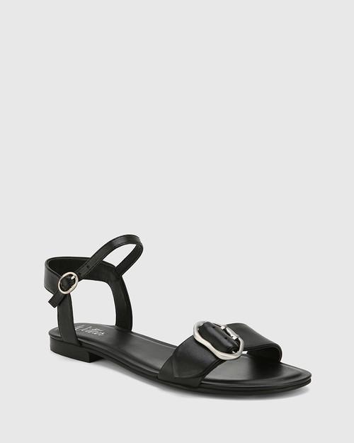 Caviana Black Leather Accent Buckle Flat Sandal.