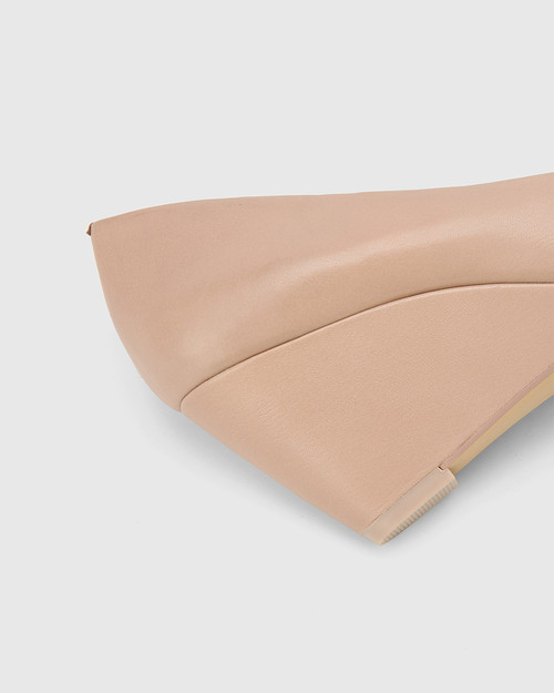 Pollie New Flesh Leather Snib Toe Wedge Heel. & Wittner & Wittner Shoes