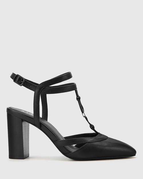 Petrona Black Leather Block Heel Ankle Strap Pump. & Wittner & Wittner Shoes
