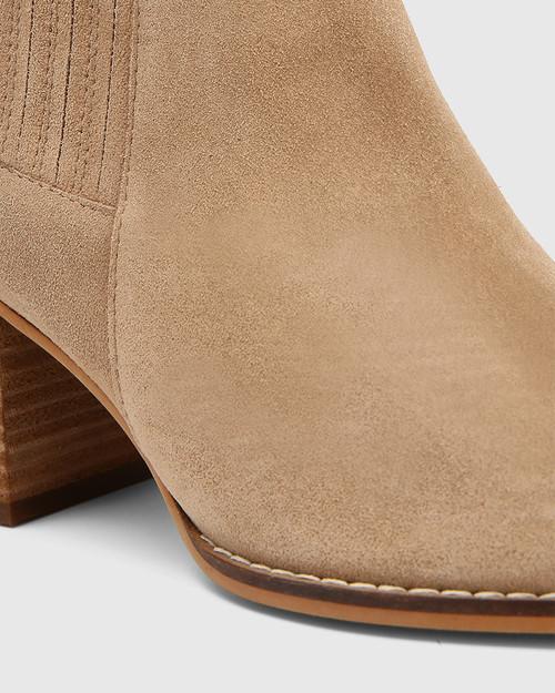 Kole Camel Suede Leather Block Heel Ankle Boot  & Wittner & Wittner Shoes