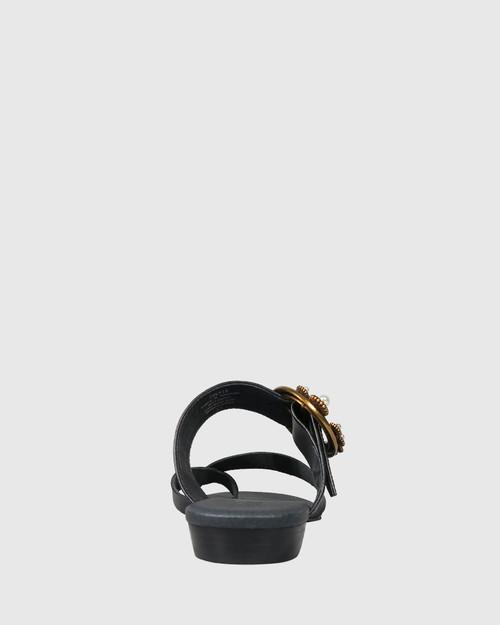 Sylvia Black Leather Gold Buckle Detail Flat Slide. & Wittner & Wittner Shoes
