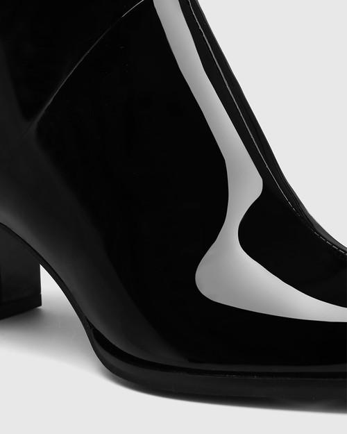 Deborah Black Patent Leather Block Heel Ankle Boot & Wittner & Wittner Shoes