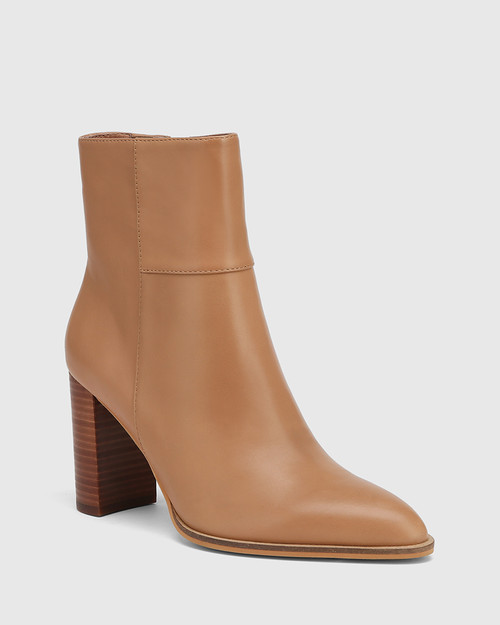 Hewitt Sunkissed Tan Leather Block Heel Ankle Boot