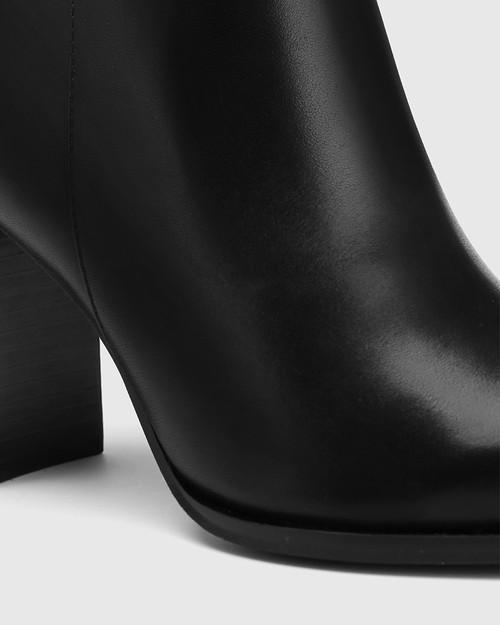 Hewitt Black Leather Block Heel Ankle Boot & Wittner & Wittner Shoes