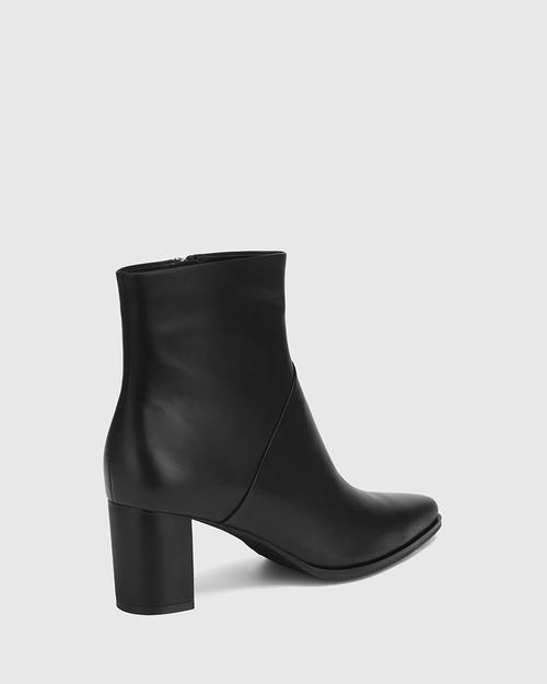 Deborah Black Leather Block Heel Ankle Boot & Wittner & Wittner Shoes