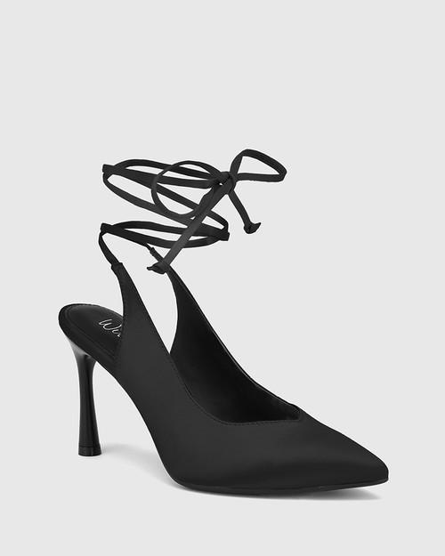 Hurskina Black Satin Leg Tie Pump & Wittner & Wittner Shoes
