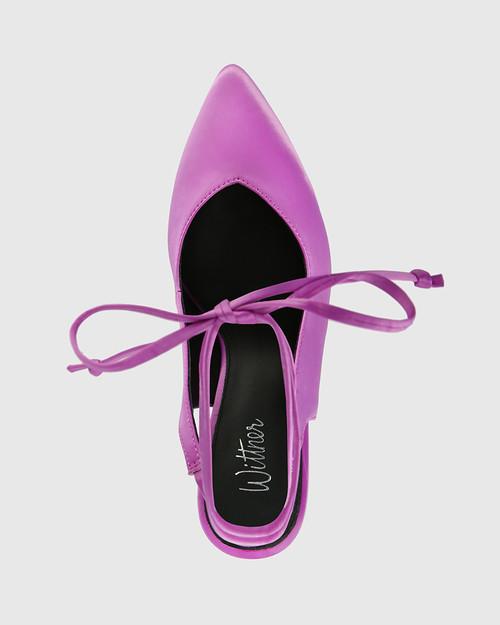 Hurskina Amethyst Satin Leg Tie Pump & Wittner & Wittner Shoes