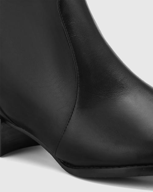 Bernia Mid Fit Black Leather Knee High Boot. & Wittner & Wittner Shoes
