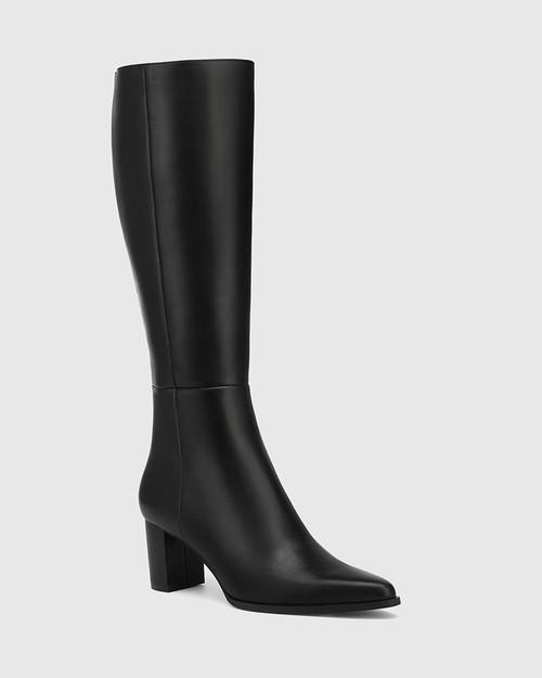 Danelle Black Leather Block Heel Long Boot