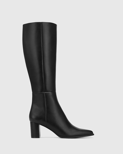 Danelle Black Leather Block Heel Long Boot & Wittner & Wittner Shoes