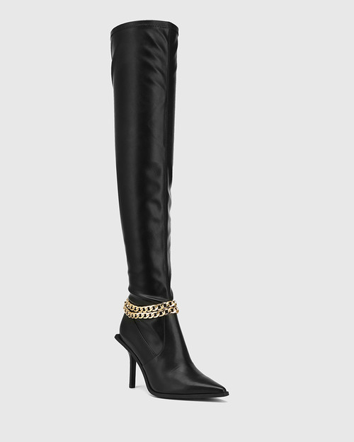 Hunnie Black Leather / Stretch Pu Over The Knee Boot