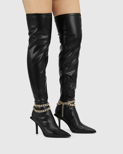 Hunnie Black Leather / Stretch Pu Over The Knee Boot & Wittner & Wittner Shoes