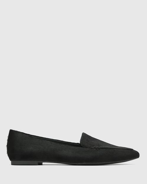 Packhamm Black Hair-on Leather Pointed Toe Loafer & Wittner & Wittner Shoes