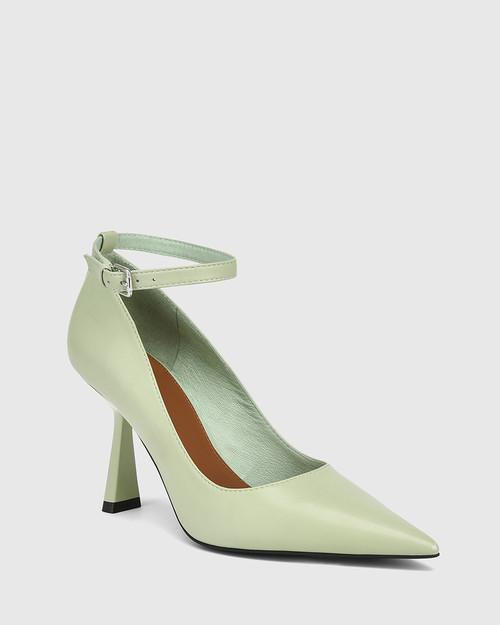 Quinti Leaf Green Leather Stiletto Heel Pump