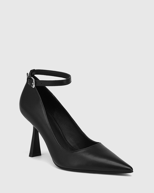 Quinti Black Leather Stiletto Heel Pump