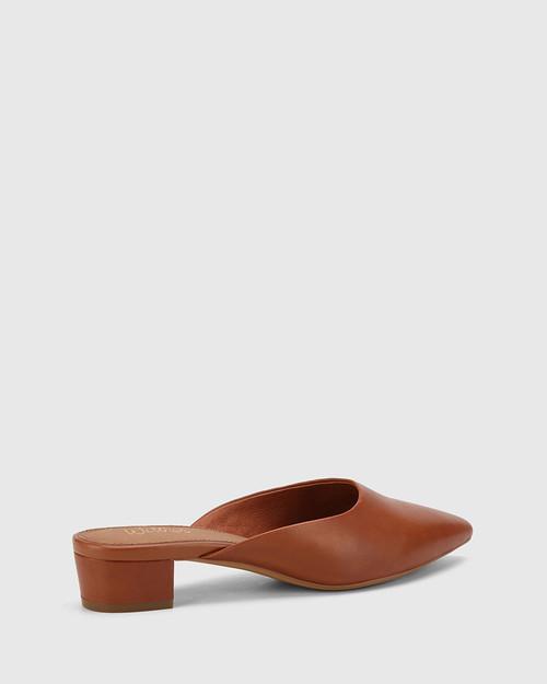 Altheda Bourbon Leather Pointed Toe Block Heel Mule. & Wittner & Wittner Shoes