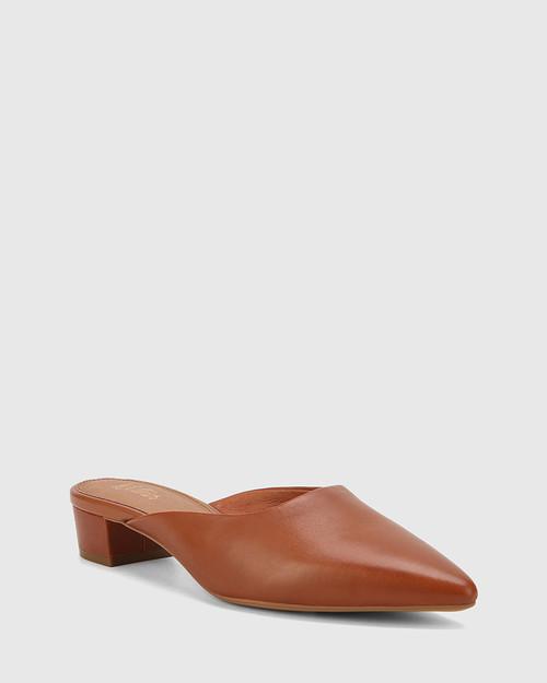 Altheda Bourbon Leather Pointed Toe Block Heel Mule.