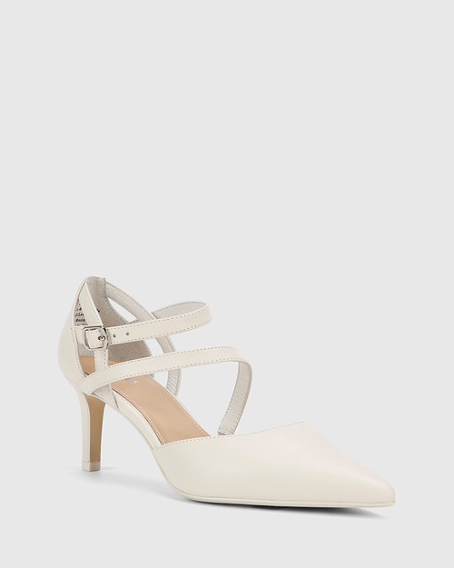 Delby Winter White Nappa Leather Pointed Toe Stiletto Heel.