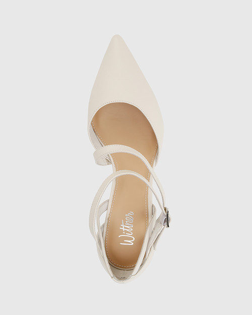 Delby Winter White Nappa Leather Pointed Toe Stiletto Heel
