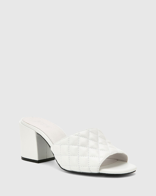 Clementine White Leather Open Toe Block Heel.
