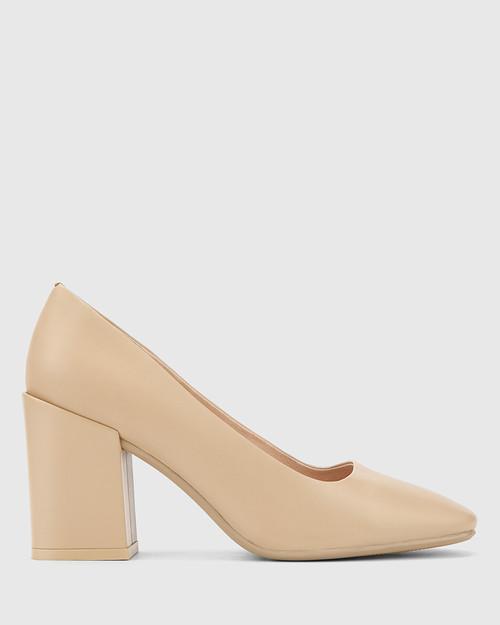 Sutton Ecru Leather Block Heel Pump. & Wittner & Wittner Shoes