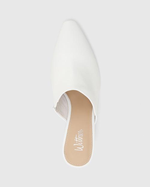 Polina White Leather Snib Toe Wedge Mule. & Wittner & Wittner Shoes