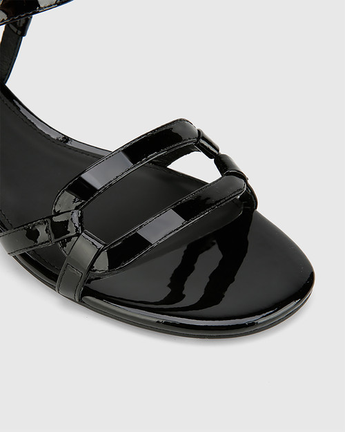 Brigita Black Patent Leather Block Heel Sandal. & Wittner & Wittner Shoes