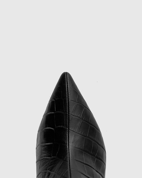 Derova Black Croc-Embossed Leather Stiletto Heel Ankle Boot & Wittner & Wittner Shoes