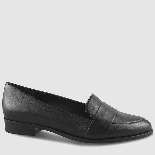 Heaton 2 Black Leather Almond Toe Loafer. & Wittner & Wittner Shoes