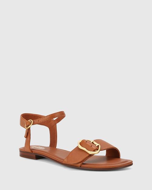 Caviana Bourbon Leather Accent Buckle Flat Sandal.