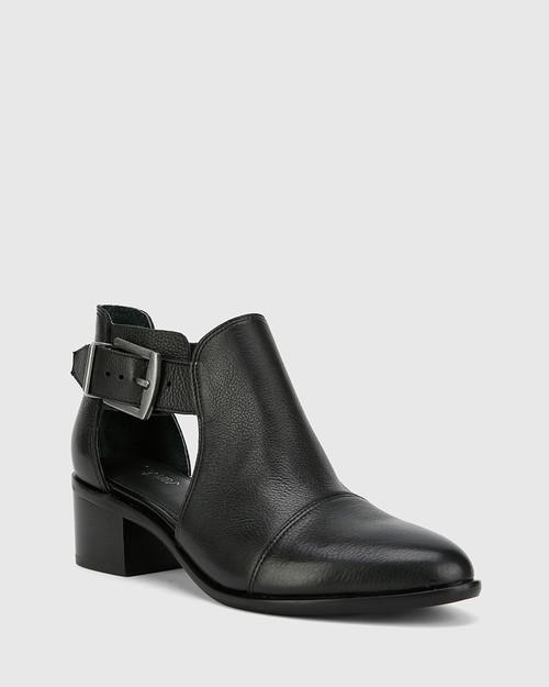 Isbal Black Leather Block Heel Buckle Ankle Boot. & Wittner & Wittner Shoes