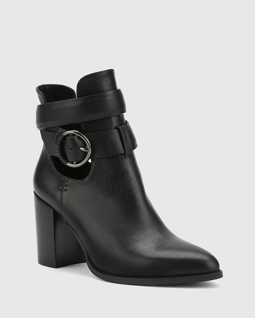 Halaya Black Leather Block Heel Buckle Ankle Boot.