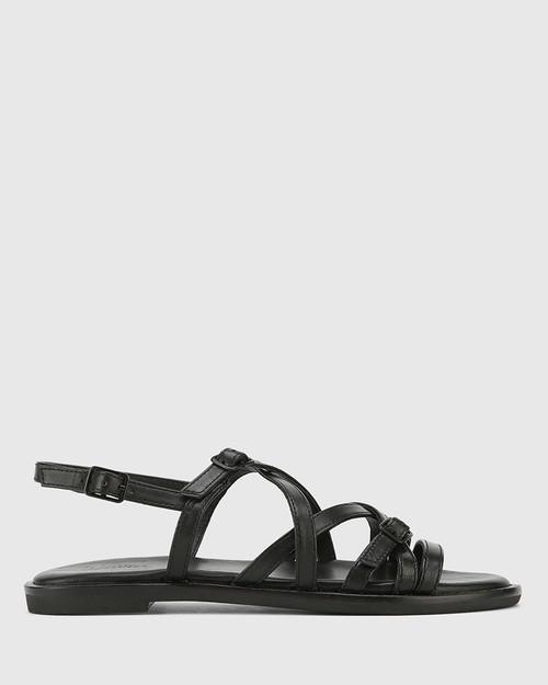 Cordelia Black Leather Buckle Strap Flat Sandal.