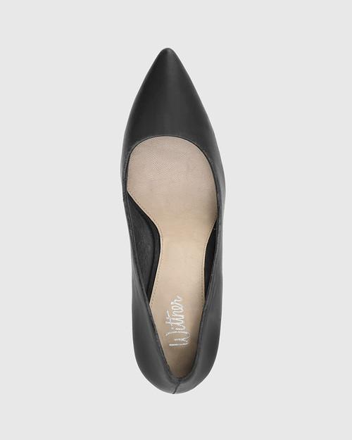 Haydens Black Leather Pointed Closed Toe High Block Heel. & Wittner & Wittner Shoes