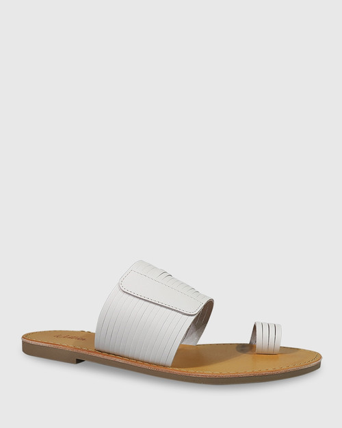 Constanza White Leather Slip On Flat Sandal.