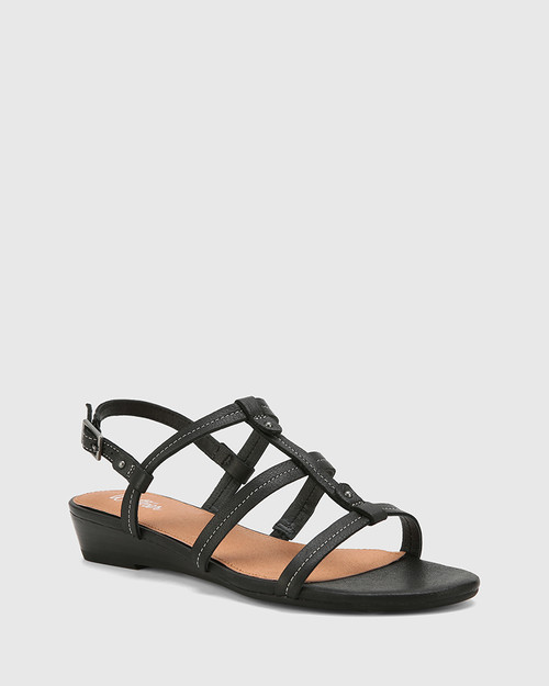 Tanner Black Leather Open Toe Low Wedge Sandal.