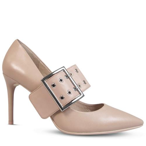 Jakki Nude Leather Buckle Shoe Harness.