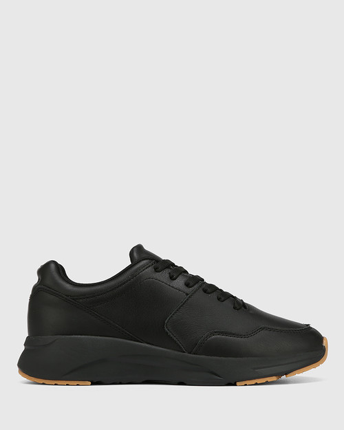 Oates Black Leather Lace Up Sneaker