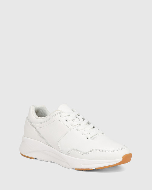 Oates White Leather Lace Up Sneaker