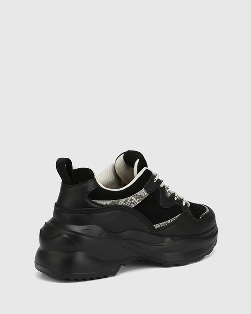 Ora Black Leather With Python Trim Lace Up Sneaker