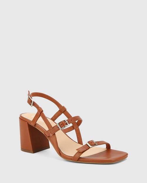 Charlton Bourbon Leather Block Heel Sandal. & Wittner & Wittner Shoes