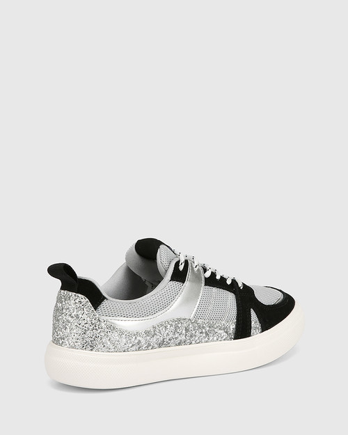 Oswald Silver Glitter Multi Leather & Mesh Lace Up Sneaker