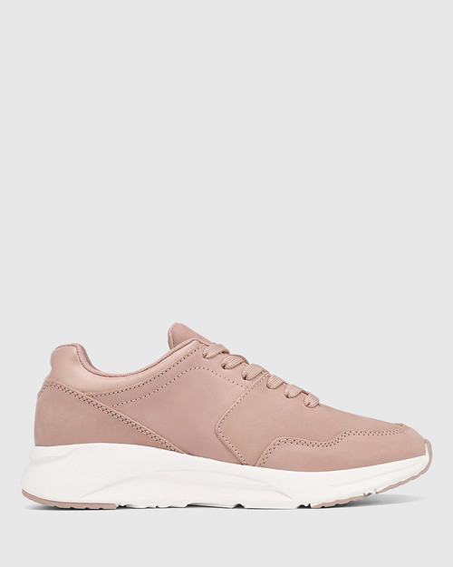 Oates Pink Nubuck Leather Lace Up Sneaker