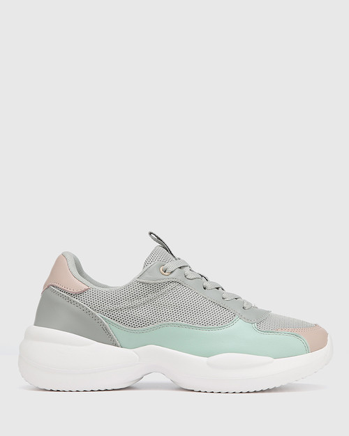 Orchard Grey Multi Leather & Mesh Lace Up Sneaker