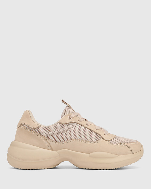 Orchard Blush Nubuck Leather & Mesh Lace Up Sneaker