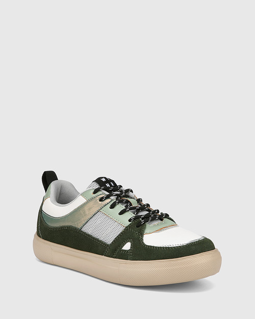Oswald Khaki Suede Multi Leather & Mesh Lace Up Sneaker