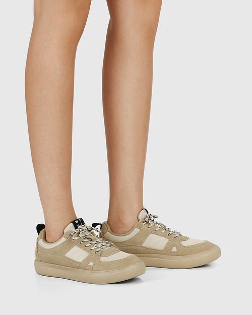 Oswald Camel Suede & Mesh Lace Up Sneaker