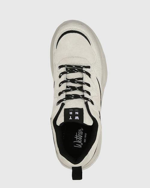 Ora Beige Suede Leather With Black Trim Lace Up Sneaker