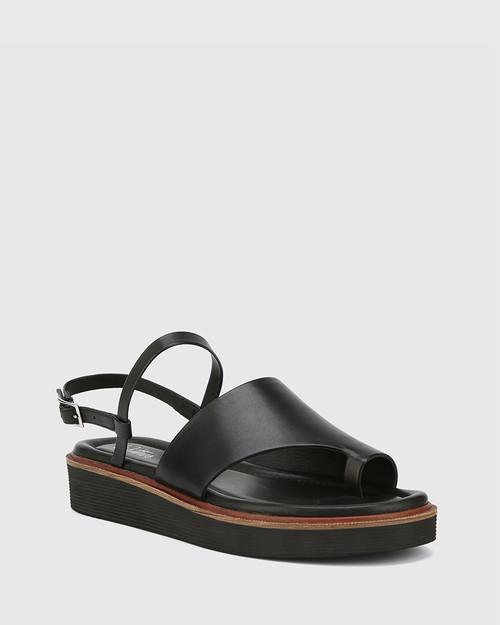 Tahoe Black Leather Open Toe Flat Sandal. & Wittner & Wittner Shoes