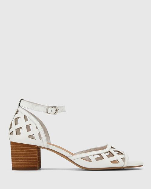 Imani White Leather Block Heel Sandal. & Wittner & Wittner Shoes
